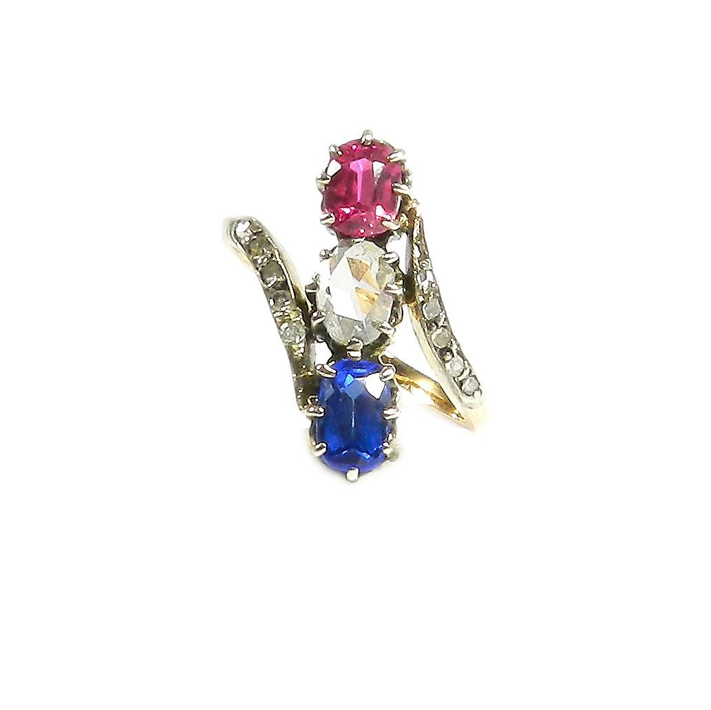 antiker diamant ring mit rubin saphir tricolore um 1890 silber auf 750 gold ebay. Black Bedroom Furniture Sets. Home Design Ideas