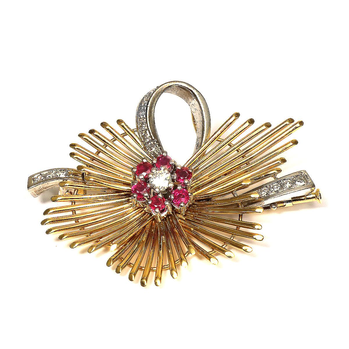 Diamanten & Edelsteine Uhren & Schmuck Perlen Brosche Diamantbrosche 585 Gold Brosche Rubin Perle Brillant Diamant