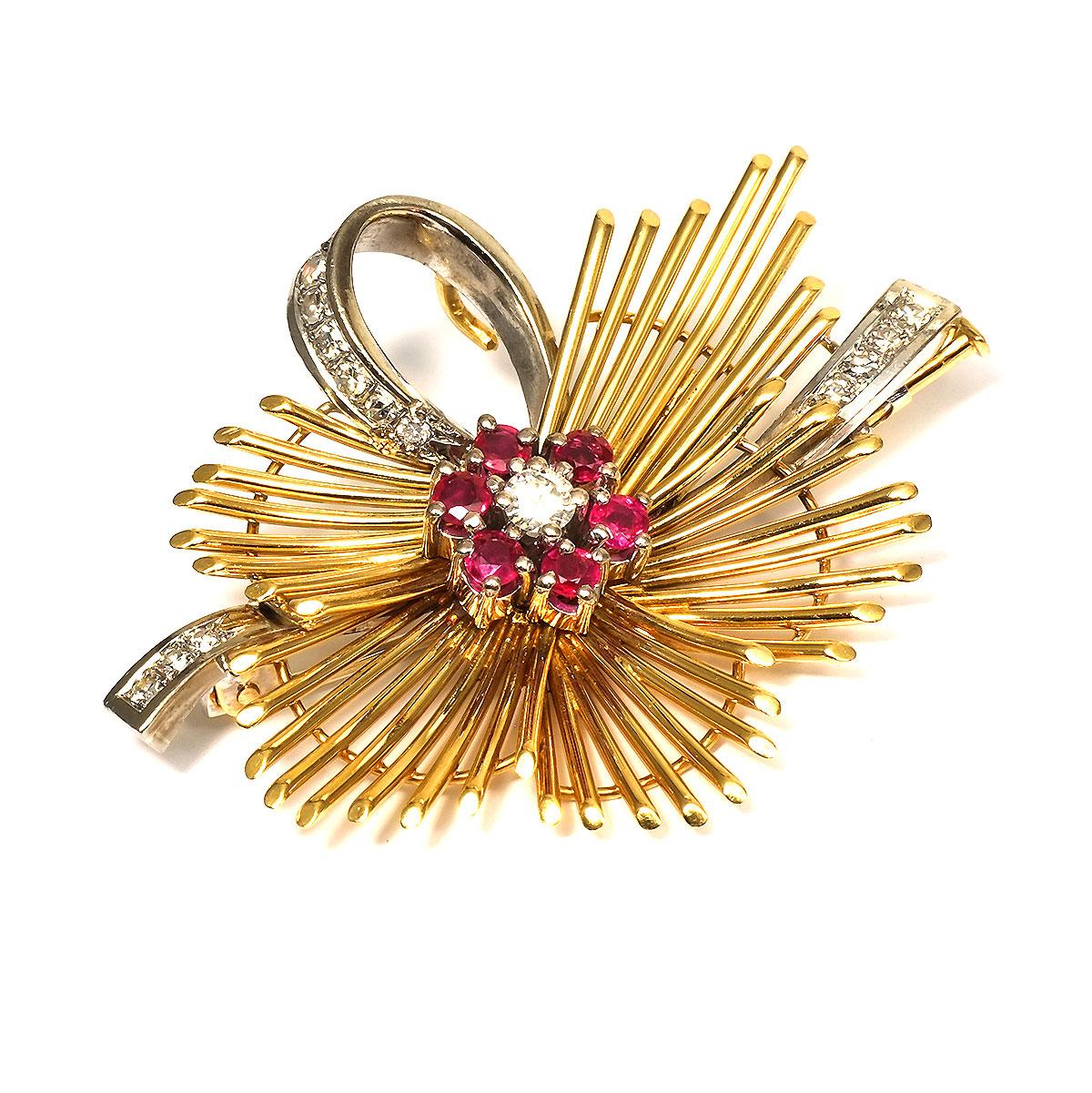Diamantbrosche Rubin Brosche 18kt 750 Gold Diamanten Brillanten Rubin Broschen & Anstecknadeln