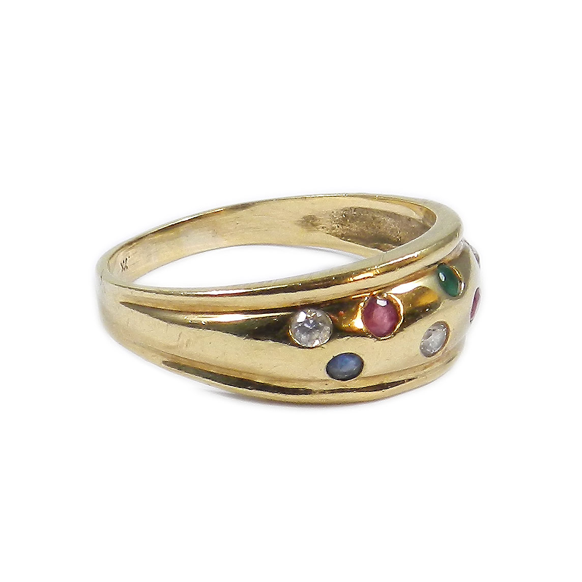 edelstein 333 gold ring mit saphir rubin smaragd zirkonia multicolor ebay. Black Bedroom Furniture Sets. Home Design Ideas