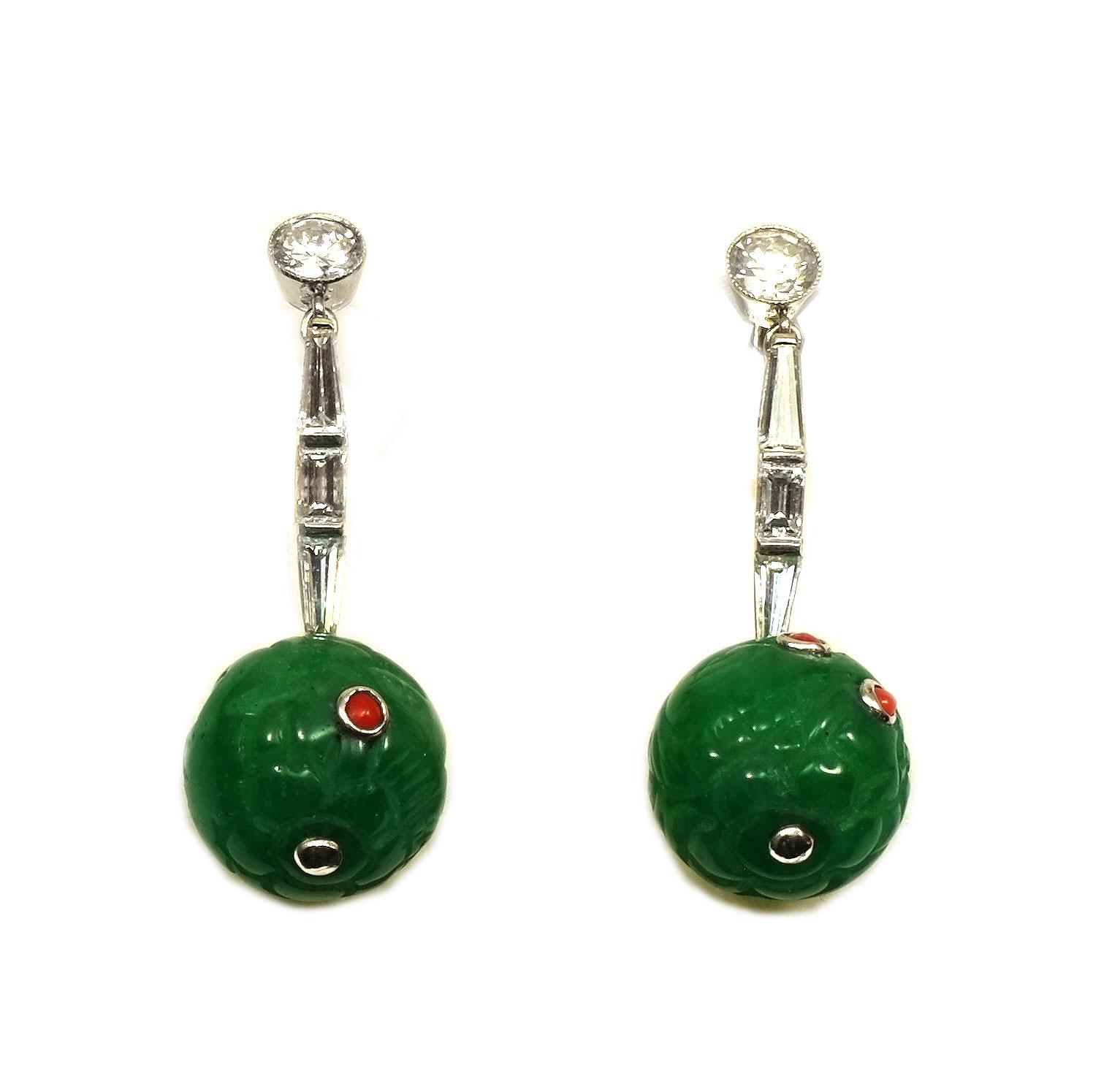 Details zu Art Deco Ohrringe mit Jade & 1.5 ct Diamanten Koralle Platin Jadeit 玉 Earrings